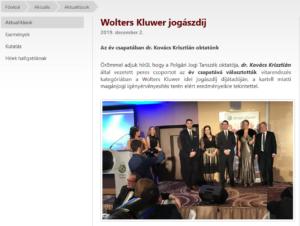 Kovács Krisztián a PPKE-JÁK honlapján a Wolters Kluwer Jogászdíjon