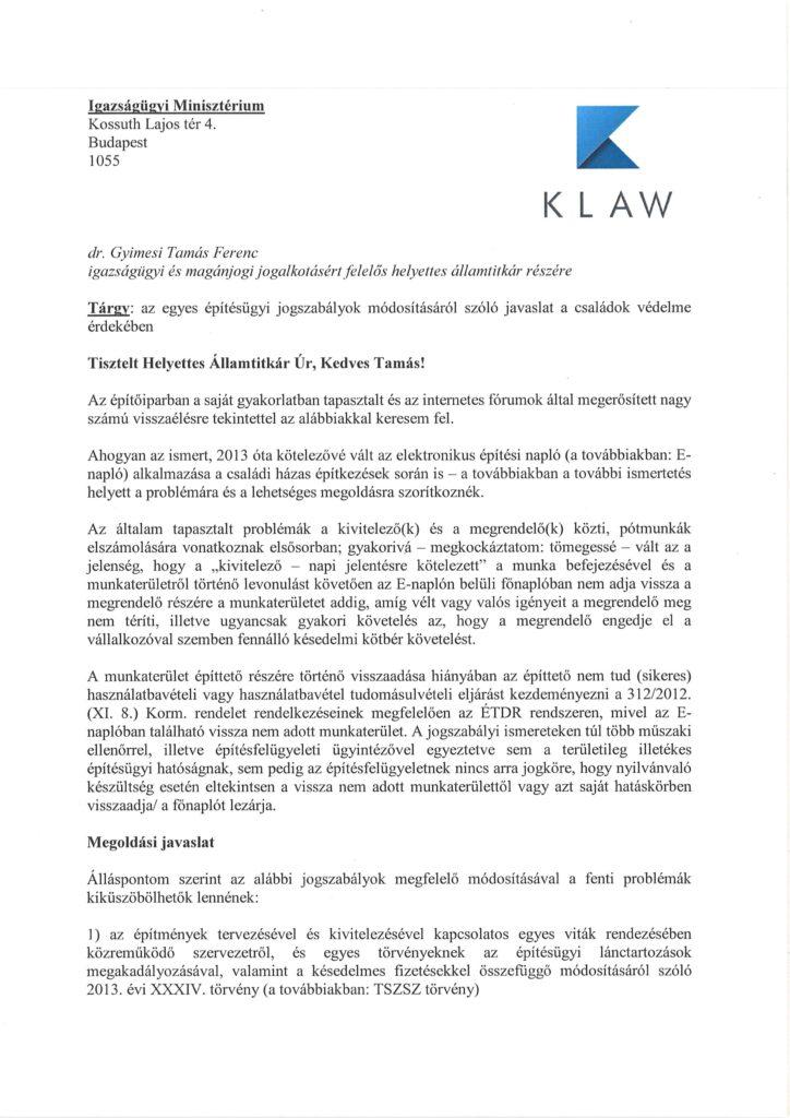 Az Igazságügyi Minisztérium helyettes államtitkárának írt levél 1. oldala
