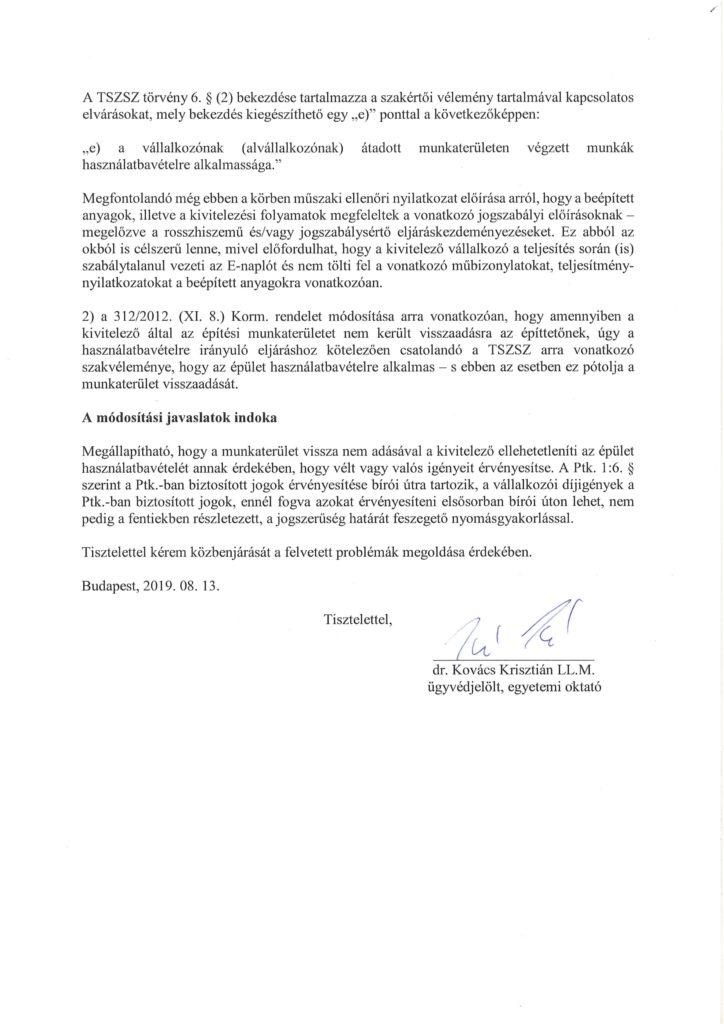Az Igazságügyi Minisztérium helyettes államtitkárának írt levél 2. oldala